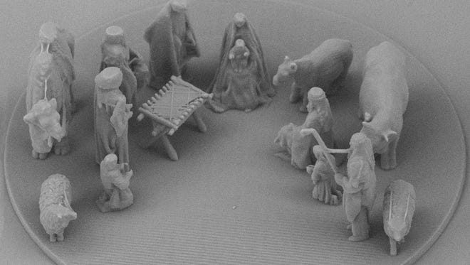 In this image made available by LinkMenu fabrikas on Dec. 22, 2017 shows the minuscule nativity scene that was given to Pope Francis.