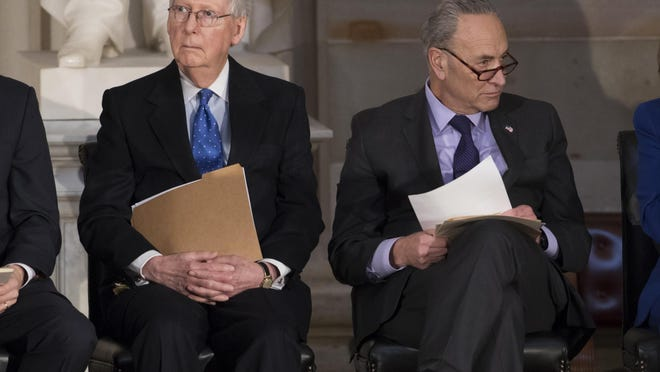 U.S. Senate Majority Leader Mitch McConnell, R-Ky. (left) and Minority Leader Chuck Schumer, D-N.Y. Several features of the U.S. political system -- a strong executive branch with veto power and the Senate filibuster -- make deadlocks harder to avoid. The filibuster is a longstanding part of the Senate's self-imposed rules of procedure and is not mentioned in the Constitution.