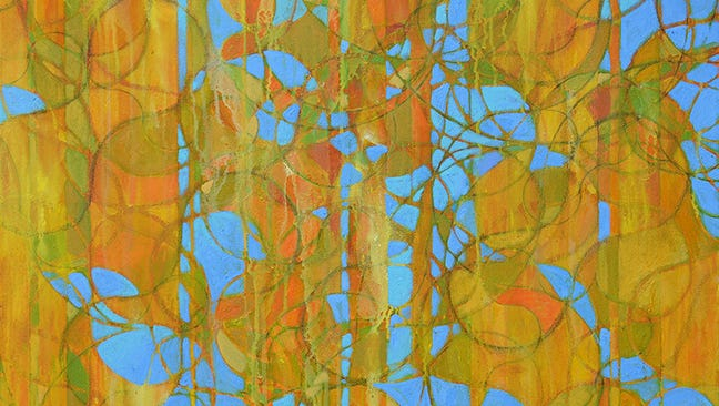 """""""October"""" is a mixed media work by artist Kenn Kotara. This piece and others of his will be on display at  London District Studios for the month of April."""