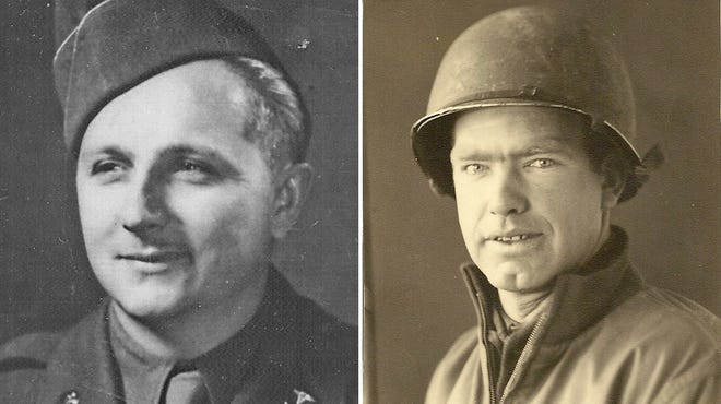 """At left, Travis Bunky McFee, who served in the Army during World War II and was among the first medical personnel to land at Normandy on D-Day. At right, George Cooper of Salem who served in the Army during World War II. This photo was taken """"somewhere in Holland"""" in December 1944."""