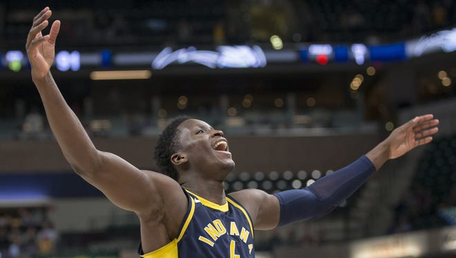 Empty seats are visible beyond Victor Oladipo, who was celebrating near the end of Indiana's victory over the Orlando Magic on Nov. 27 at Bankers Life Fieldhouse. Indiana won 121-109.
