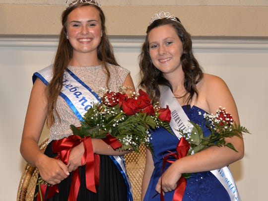 From left, Elizabeth Voight the 2017 Lebanon Area Fair Queen and alternate queen Amber Rexrode pictured at the coronation ceremony held at the Lebanon Fairgrounds on Saturday evening, July 22, 2017. Voight is a senior at Northern Lebanon High School. Rexrode is a 2017 graduate of Annville-Cleona High School and will attend Wilson College in the fall.