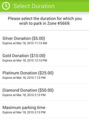 The Parkmobile app offers options for donating to the