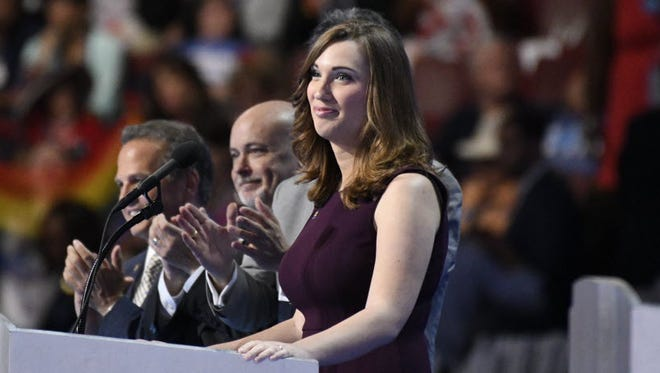 Sarah McBride takes the stage during the 2016 Democratic National Convention.