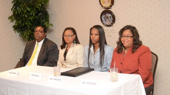 Candidates for the Division A judgeship of the 9th Judicial District Court (from left) Clifton J. Spears Jr., Monique Rauls, Tiffany Sanders and Monique Metoyer wait Thursday to take part in a forum hosted by the Alexandria Exchange Club.
