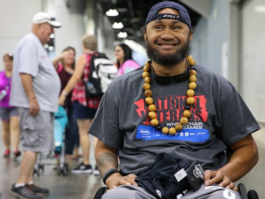 Army veteran Sualauvi Tuimalealiifano, 38, of Kalihi, Hawaii, is pictured during the 37th National Veterans Wheelchair Games, Wednesday, July 19, 2017, at the Duke Energy Convention Center in Cincinnati.