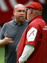 Arizona Cardinals GM Steve Keim and Bruce Arians during