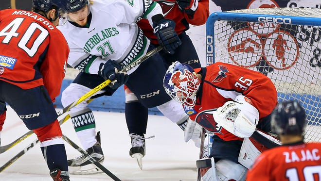 Stingrays goalie Parker Milner makes a stop against the Everblades as South Carolina took on Florida in Game 3 of their South Division Kelly Cup final series Monday, May 1, 2017 at the North Charleston Coliseum. The best-of-seven series is tied at 1.