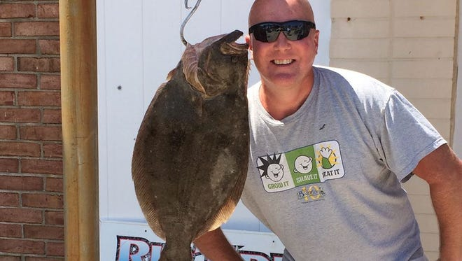 "Joe Sudo was fishing with John L. and they went out front to check out the reefs and wrecks and said there was't much action going on out there. They headed back to Absecon Inlet and bumped into this 26"" 7 lb. 3 oz. flounder and had another keeper to go with it."
