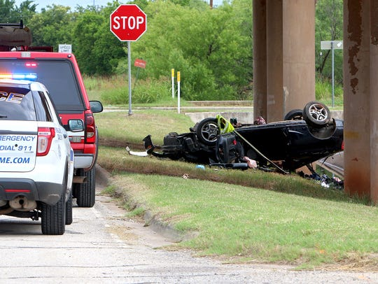 Wichita Falls police investigate a single-vehicle rollover crash on June 3 in the 1900 block of Central Freeway.