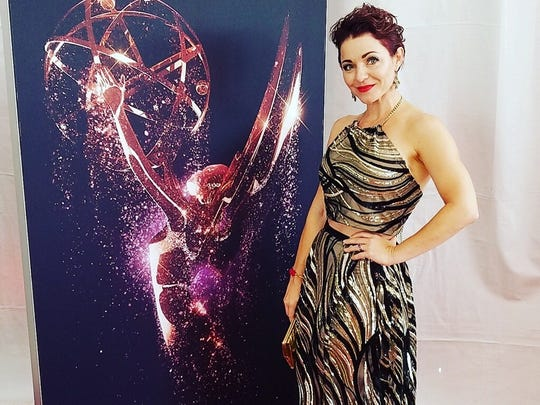 Shanna Forrestall in a Romey Roe design at the Emmy
