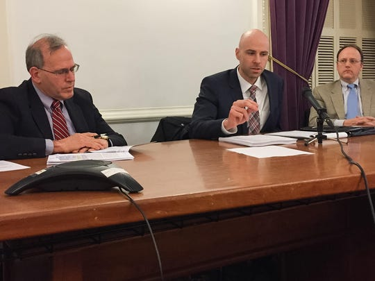 From left, Don VanSlochem, John Schaeffer and David Weiher of Strategic Solutions Group were hired to evaluate the problems with Vermont Health Connect and whether Vermont should use an alternative system. They presented their findings at the Statehouse in Montpelier on Wednesday afternoon, Dec. 21, 2016.