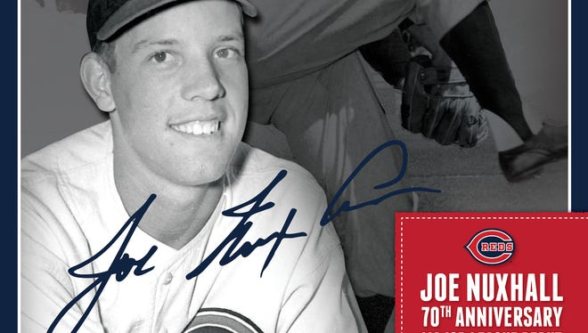 Reds poster for 70th anniversary of Joe Nuhxall's 1944 debut.