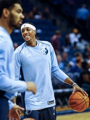 Memphis Grizzlies' Mario Chalmers smiles during warm ups before taking the Orlando Magic at the FedExForum in Memphis, Tenn., Monday, October 2, 2017.