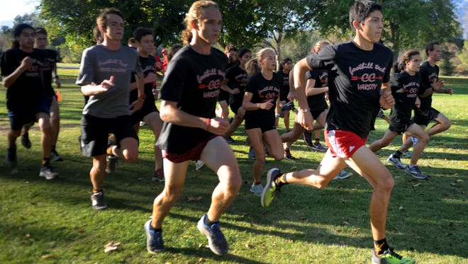Jared Rodriguez of Foothill Tech runs with his cross country teammates during a practice at Soule Park in Ojai. The Foothill Tech team won the CIF Southern Section title last weekend in Riverside and is headed to the state championships Saturday in Fresno.