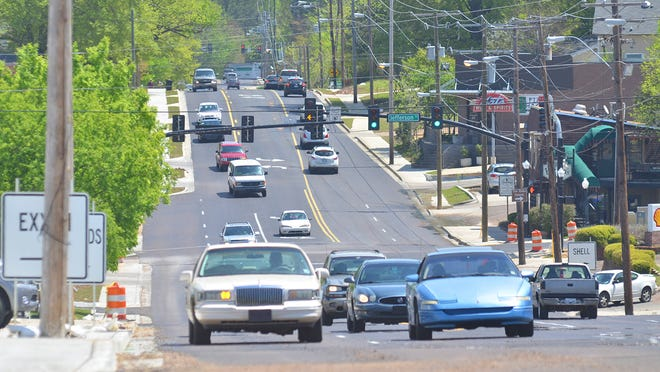 Motorist have smooth travel along the City of Jackson's Fortification Street project near N. State Street encounter no orange contruction barrels on Friday. New water and sewer lines, new sidewalks, traffic signals and repaving are part of enhancement project.