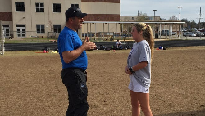 J.L. Mann girls soccer coach Steve Georgopolous talks with senior captain Josie Gillespie during a recent practice. The Patriots are 15-0 and No. 1 in Class AAAAA.