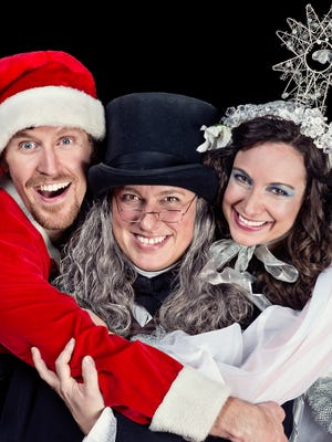 """Patrick Earl as Crumpet in """"The Santaland Diaries,"""" Allison Glenzer as Scrooge in """"A Christmas Carol"""" and Stephanie Holladay Earl as Mary in """"The Twelve Dates of Christmas."""""""