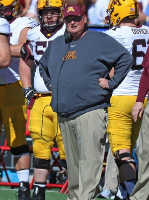 Minnesota Golden Gophers head coach Tracy Claeys on the sidelines during the game against the Maryland Terrapins at Byrd Stadium.