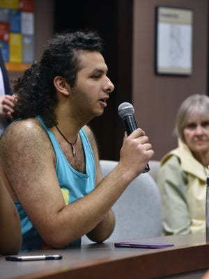 "A student asks a question at the symposium on intellectual freedom Monday, April 10, 2017, at the University of Tennessee. The symposium comes in the midst of lawmakers proposing an ""intellectual diversity"" office at the university."