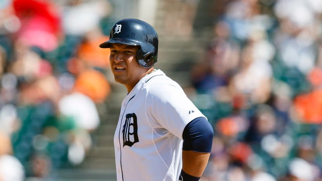 Miguel Cabrera winces after sliding into second base trying to stretch a single in the fifth inning.