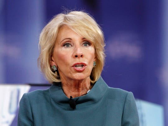 Education Secretary Betsy DeVos speaks during the Conservative Political Action Conference (CPAC), at National Harbor, Md., Thursday, Feb. 22, 2018.