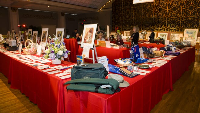 Items for bid at the ninth annual 'Live on CET!' in 2013.