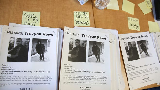 Volunteers met at the Al Sigl Center on Sunday, March 11 to pick up fliers to distribute in the search for 14-year-old Trevyan Rowe.