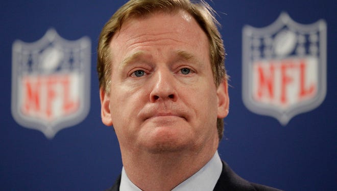 """NFL Commissioner Roger Goodell pauses during a new conference in Atlanta. A law enforcement official says he sent a video of Ray Rice punching his then-fiancee to an NFL employee three months ago, while league executives have insisted they didn't see the violent images until they were published this week. The person played The Associated Press a 12-second voicemail from an NFL office number confirming the video arrived on April 9. A female voice expresses thanks for providing the video and says: """"You're right. It's terrible."""" Goodell sent a memo on Wednesday, Sept. 10, 2014, to the 32 teams reiterating that the NFL never saw the video until Monday, Sept. 8."""
