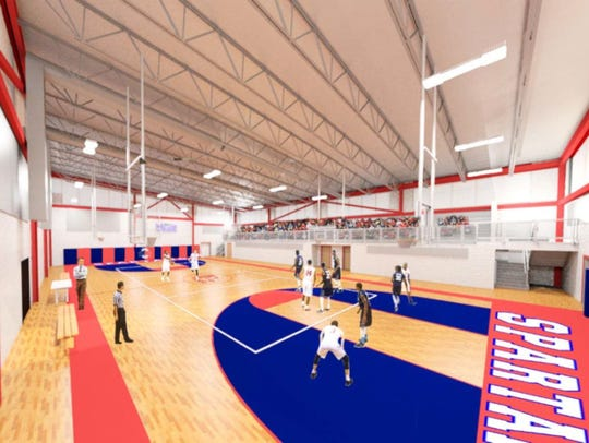 Rendering of the new gym at Ocean Township High School,