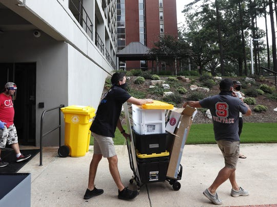 College students begin moving in for the fall semester at N.C. State University in Raleigh on Aug. 3.