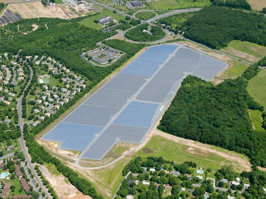 This commercial solar panel farm in East Windsor is part of Wall-based New Jersey Resources' push into alternative energy.