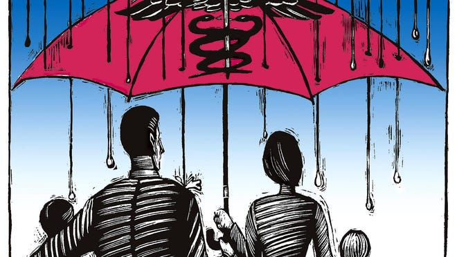 Illustration of medical health insurance coverage under a family umbrella