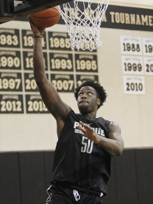 Caleb Swanigan with a layup during men's basketball practice Monday, October 5, 2015, at Cardinal Court on the campus of Purdue University.