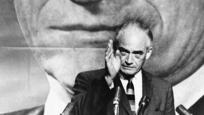 Sen. Barry Goldwater, R-Ariz., stumps for president on June 17, 1964. He lost the election, but his campaign's influence is still felt 50 years later.