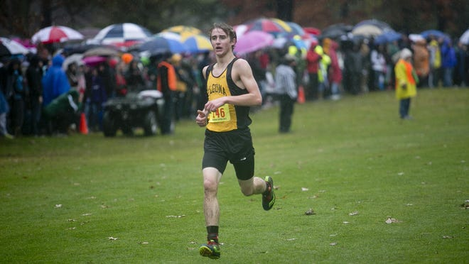 Algoma's Jacob Wahlers nears the finish line during the WIAA Division 3 boys race at the State Cross Country Championships at the Ridges Country Club in Wisconsin Rapids, Saturday.