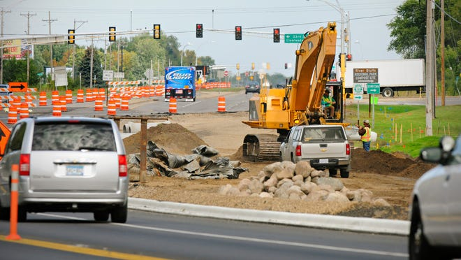 Road construction last fall on Stearns County Road 75 near 33rd Street South.