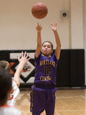 Kirtland Central's Haile Gleason shoots a 3-pointers against Aztec on Tuesday at Lillywhite Gym in Aztec.