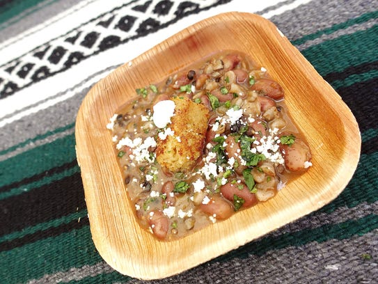 Spicy Anasazi beans and heritage barley with mesquite
