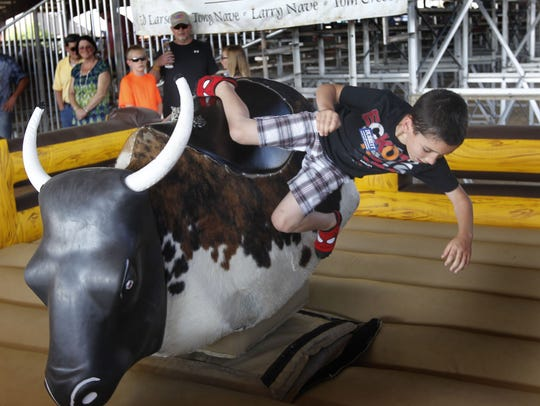 Talan Weber was thrown from the mechanical bull at