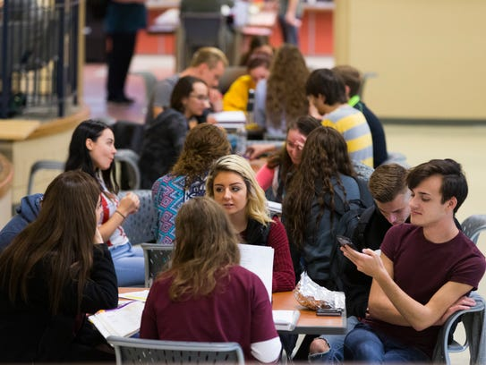 Students socialize in the commons at UW-Waukesha.