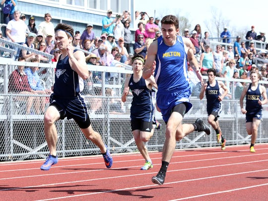 Milton's Carson Bianchi, right, is a runner to watch at Saturday's D-II track and field state meet.