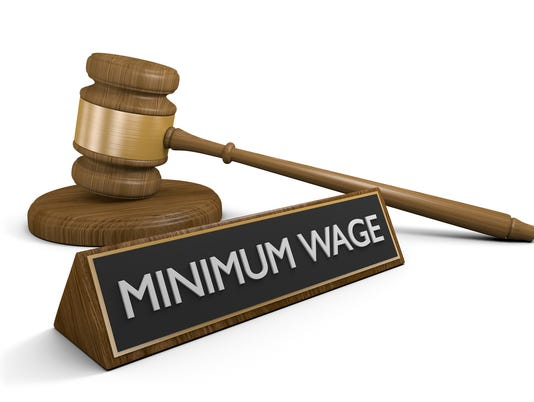 Court law concept for raising the minimum wage
