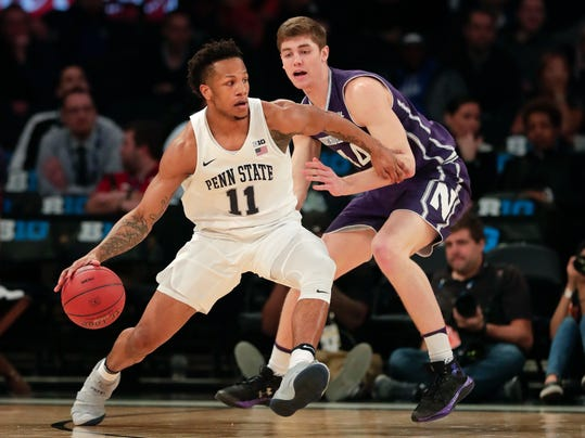 Penn State forward Lamar Stevens (11) drives against Northwestern forward Rapolas Ivanauskas (14) during the first half of an NCAA college basketball game in the Big 10 men's tournament Thursday, March 1, 2018, in New York. (AP Photo/Julie Jacobson)