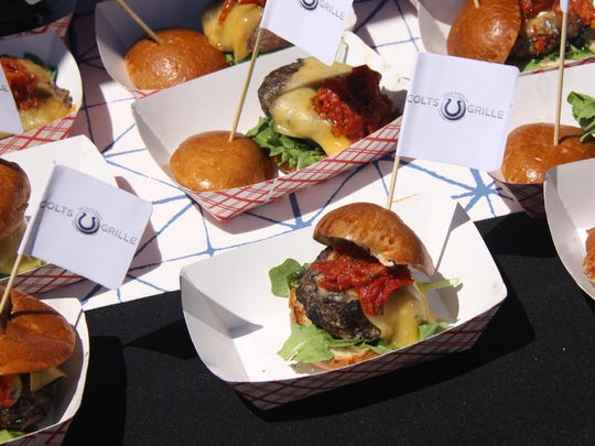 The Indy Burger Battle people's choice award went to Indianapolis Colts Grille's steak and brisket burger topped with arugula, cherry tomato relish and cheese.