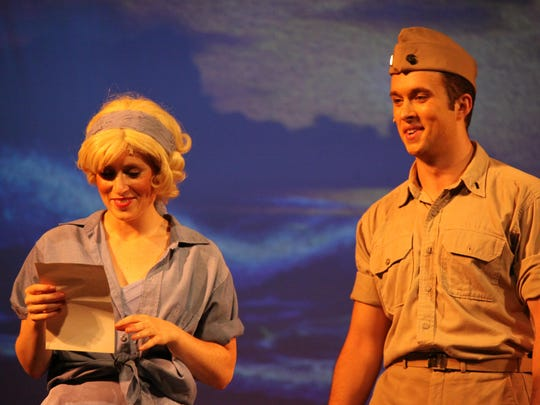 "Perri Lauren as Nellie and Ian Laudano as Lt. Cable in ""South Pacific."""