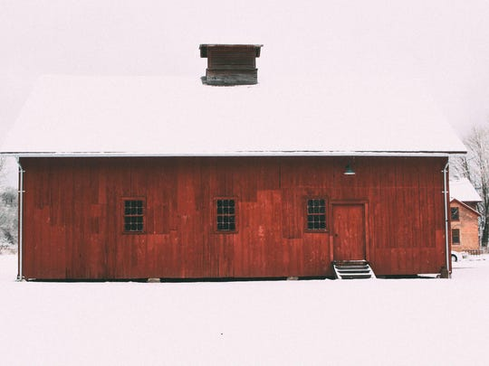 Winter photo of historic barn in the Intervale.