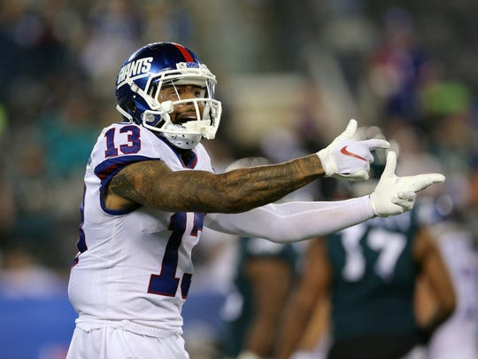 Giants wide receiver Odell Beckham Jr. (13) reacts late during the fourth quarter against the Philadelphia Eagles at MetLife Stadium.
