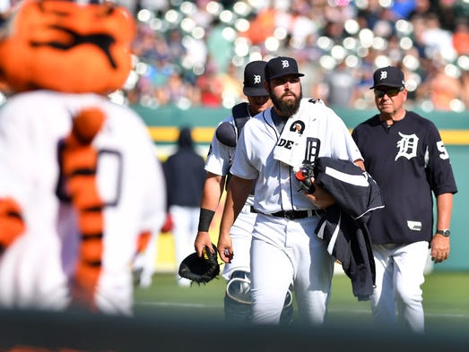 Tigers pitcher Michael Fulmer heads to the dugout at