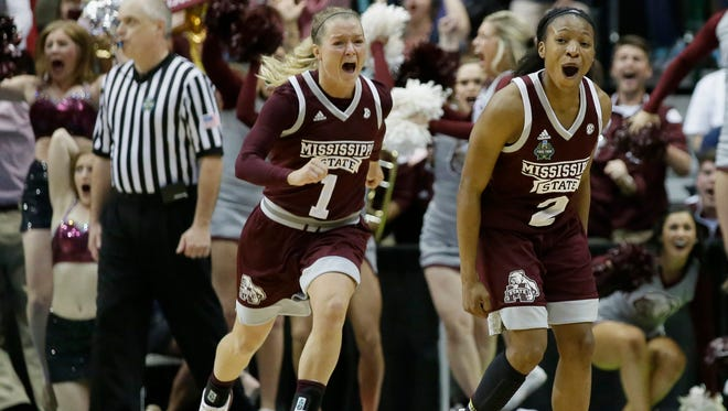Mississippi State guard Morgan William (2) celebrates after she hit the winning shot in overtime to defeat Connecticut.